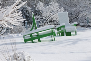 outdoor learning spaces: snow covered chairs