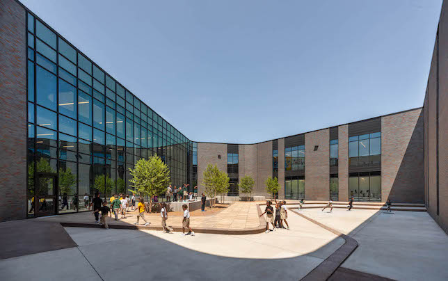 The two-story, 109,500-square-foot facility offers project-based, collaborative learning and outdoor learning spaces.