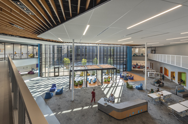 At the heart of the school is the two-story media center, designed to blur the lines between indoor and outdoor space.