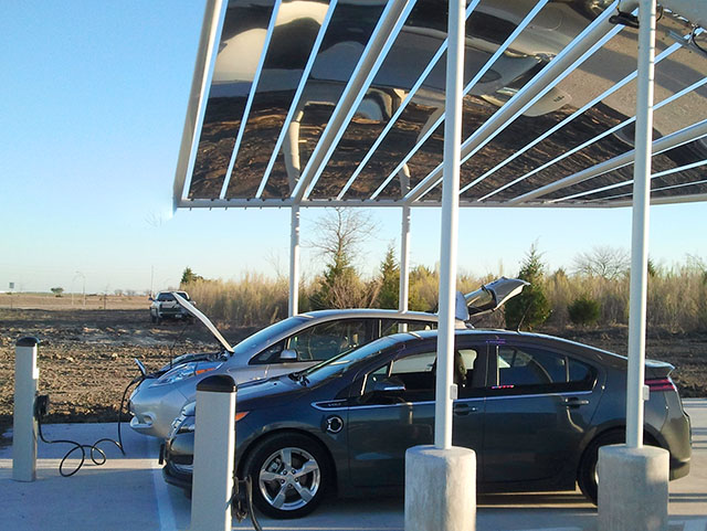 Solar glass on EV Charging Station
