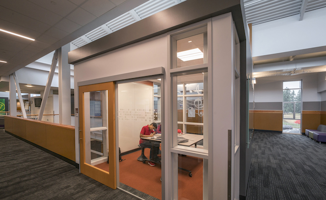 Caption: Single leaf sliding doors support North Creek High School's (NCHS) collaborative culture in Bothell, Washington. Credit: © Chris Eden / edenphotography.us