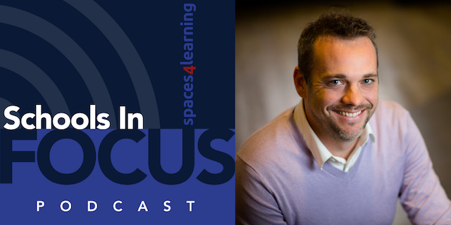 Schools In Focus Podcast logo and Todd Ferking, principal at DLR Group