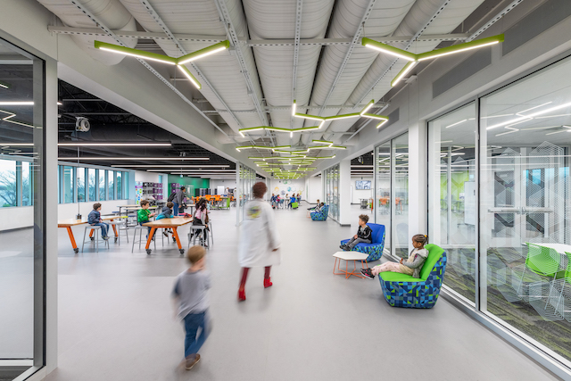"Designed by Perkins and Will, the Berkner STEM Exploration Center was created to ""rethink STEM integration for all and create a space that would welcome teachers across all subjects and students of all ages."""