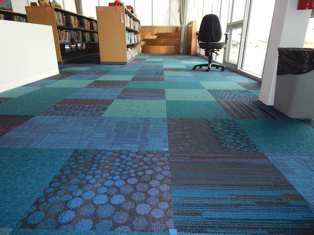 Carrie Busey Elementary School library carpet tile. Credit: Scott Berman