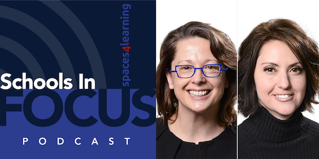 Schools In Focus podcast logo. Robin Randall (R) and Sylvia Kowalk (L).