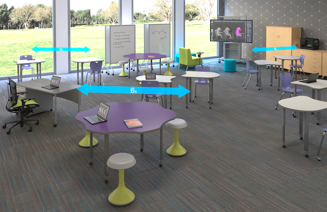 Classroom with agile furniture spaced at six feet apart.