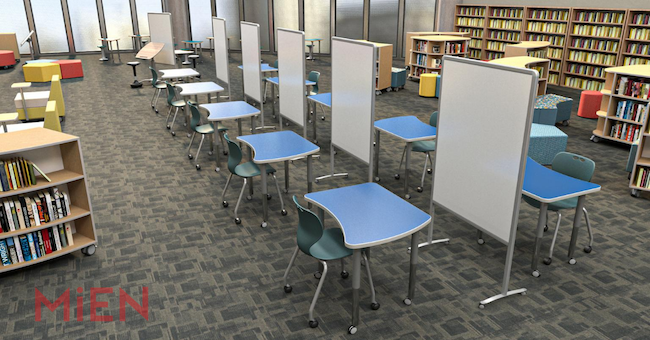 Flexible furniture to accommodate social distancing in a media center. Courtesy of Mien.