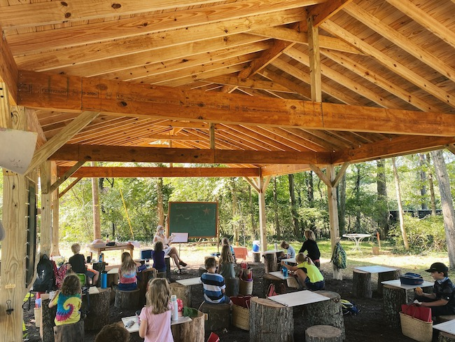 Outdoor learning pavilion at Linden Waldorf School in Nashville, TN.