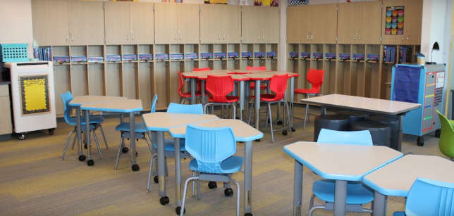 Classrooms include flexible furniture and smart boards on castors for mobility.