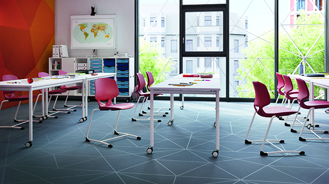 The JUMPER chair family emphasizes ergonomic design for active sitting in educational and corporate spaces. The chairs' shape helps support correct back posture while encouraging natural movement.