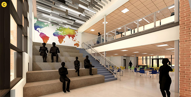 Gemini Middle School, outside of Chicago, debuted several changes as they began this school year including an expanded cafeteria with learning stairs.