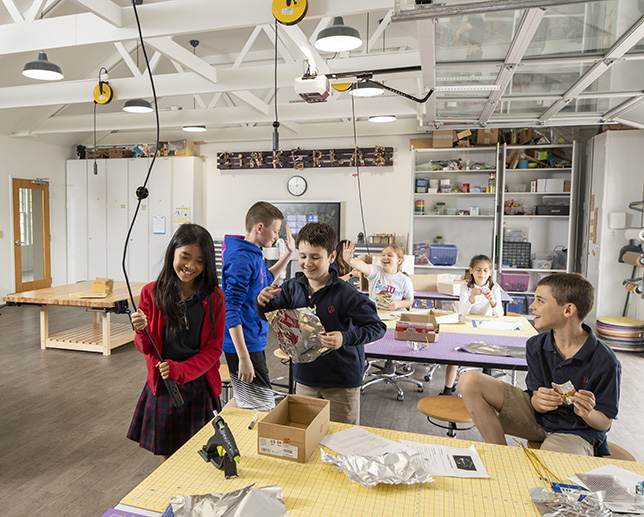 The Tinker Lab is equipped with a laser cutter, 3-D printer, workstations, an industrial sink, kitchenette and hand tools