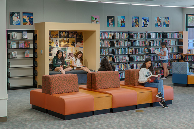 Students are able to enjoy silent and group study rooms, reading nooks and a large reading area with natural light and comfortable seating.