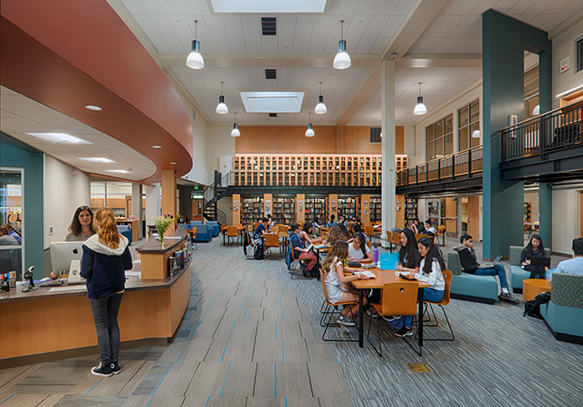 Palo Alto High School staff envisioned a library that would feature updated technology, natural light, and a more functional, open layout with clear sightlines and improved circulation patterns.