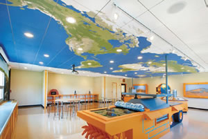 classroom ceiling design with world map