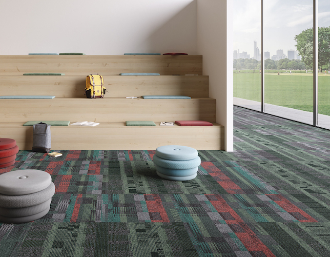 Campus is a Bauhaus-inspired collection of carpet tiles offering a range of patterns and tones for different spaces.