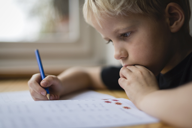 Child working on homework.
