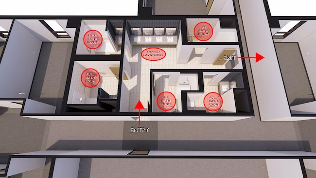 Layout of shared bathrooms by KWK Architects.