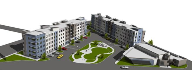 Architectural rendering of approved residence halls.