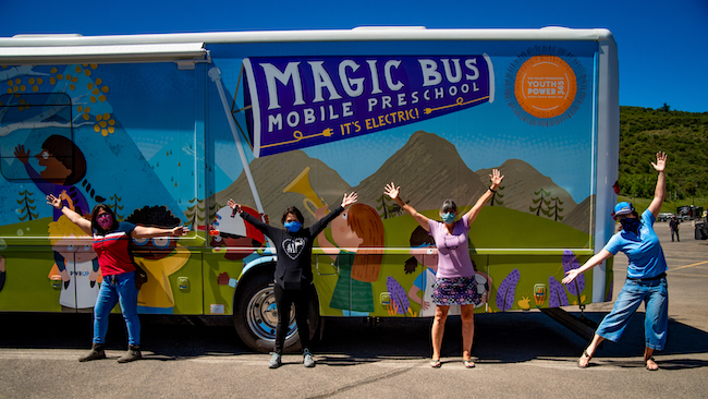 "Vail Valley Foundation's YouthPower365, along with Winnebago's Specialty Vehicle Division, unveiled an all-electric, emission-free vehicle called the ""Magic Bus"" Mobile Preschool."