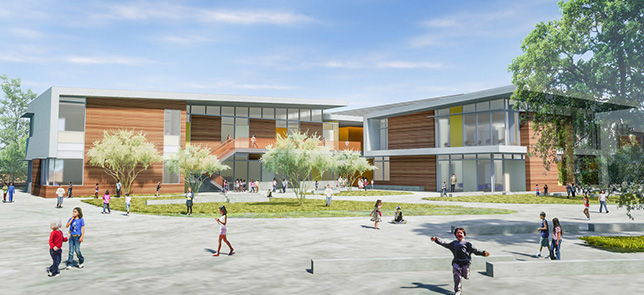 The 66,000 square-foot campus will feature 26 classrooms, a space for students enrolled in the district's Therapeutic Learning Program, administrative offices, a multipurpose cafeteria/auditorium and play-fields.