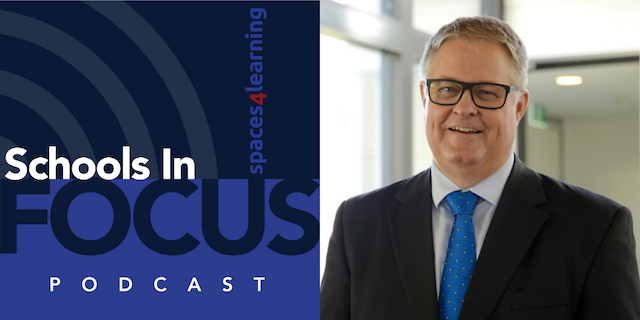 Schools In Focus podcast logo and Dr. Greg Whiteley