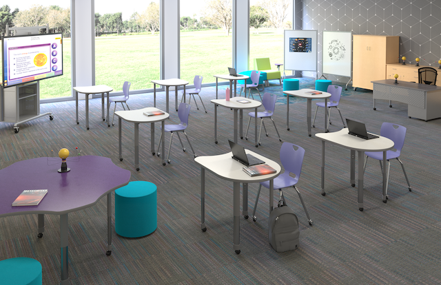 Classroom with agile furniture to accommodate proper social distancing.