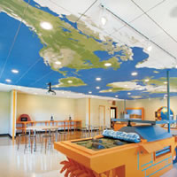 map across classroom ceiling