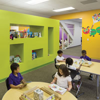 Fun and colorful school classroom